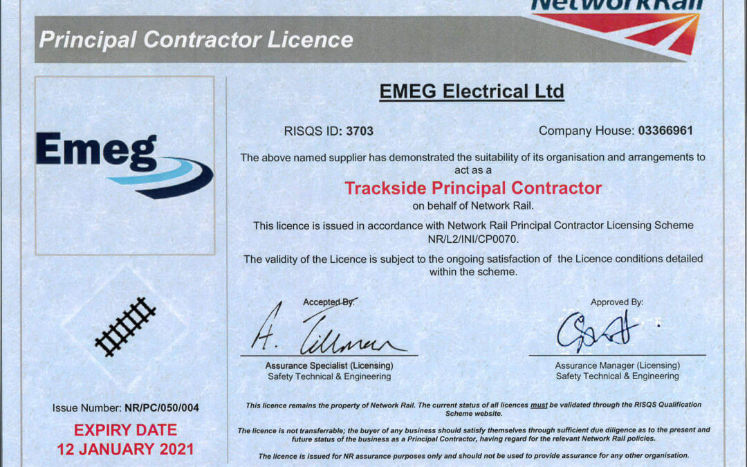 Emeg Secure a 3 Year Extention To Their Trackside Principle Contractor Licence